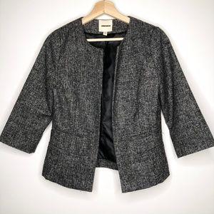 Silence + Noise UO Gray Tweed Open Blazer Jacket